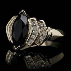 14K Yellow Gold Estate Onyx and Diamond Ring