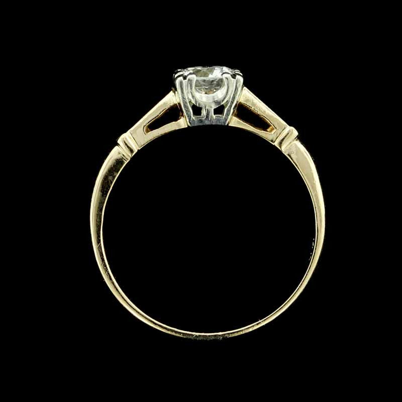 Vintage 14K Yellow Gold and Platinum Diamond Engagement Ring