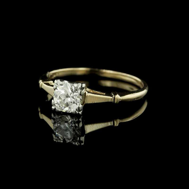 Vintage 14K Yellow Gold, Platinum and Diamond Engagement Ring