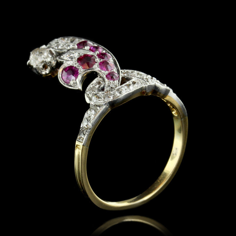 Vintage 18K Yellow Gold and Platinum Ruby and Diamond Ring