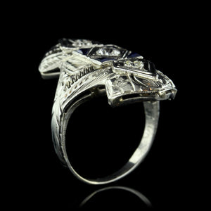 Vintage 18K White Gold Diamond and Synthetic Sapphire Ring