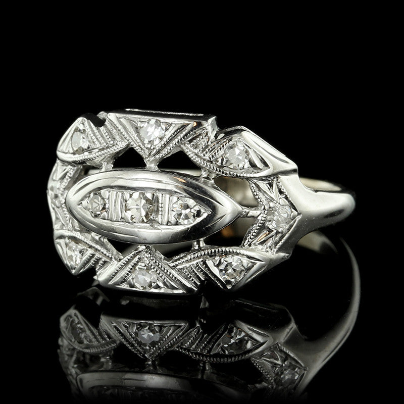 Vintage 14K White Gold Diamond Ring