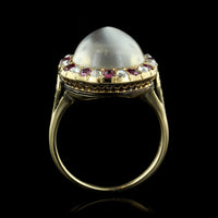 Antique 14K Yellow Gold Moonstone, Ruby and Diamond Ring