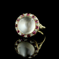 Antique 14K Yellow Gold Moonstone