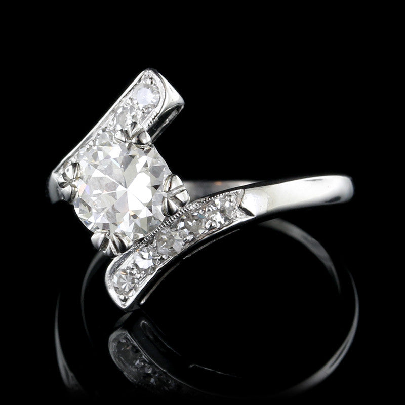 Vintage Platinum Diamond Solitaire Engagement Bypass Ring