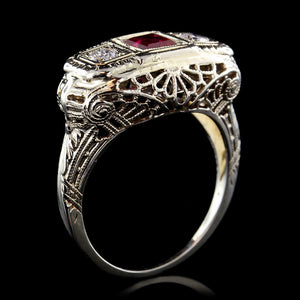 Vintage 14K White Gold Synthetic Ruby and Diamond Ring