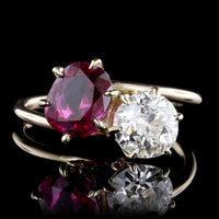 Vintage 14K Rose Gold Ruby and Diamond Ring