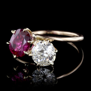 Vintage 14K Rose Gold Ruby and Diamond Bypass Ring