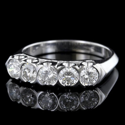 14K White Gold Semi Bezel Set Diamond Band