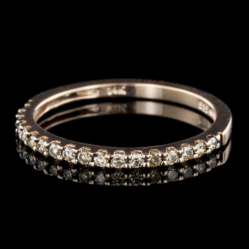14K Rose Gold Brown Diamond Band