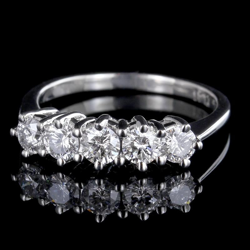 Platinum Diamond Five Stone Band