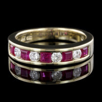 14K Yellow Gold Estate Ruby and Diamond Band
