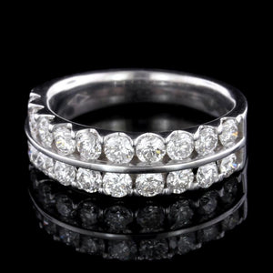14K White Gold Estate Diamond Two Row Band