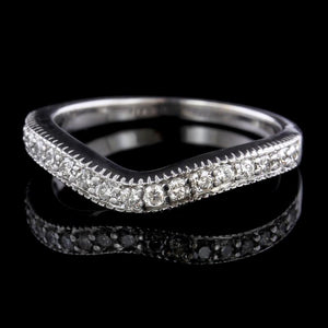 14K White Gold Estate Diamond Curved Band