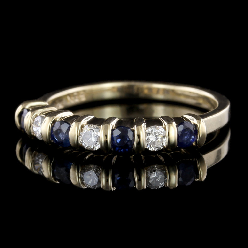 14K Yellow Gold Sapphire and Diamond Band