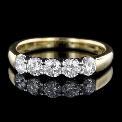 18K Yellow Gold and Platinum Diamond Band