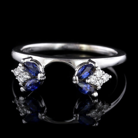 14K White Gold Estate Sapphire and Diamond Wrap Ring