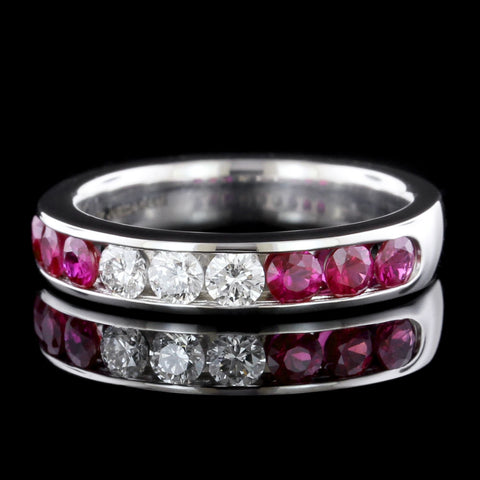 18K White Gold Estate Ruby and Diamond Band