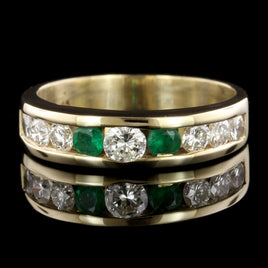 14K Yellow Gold Emerald, Ruby and Diamond Bangle