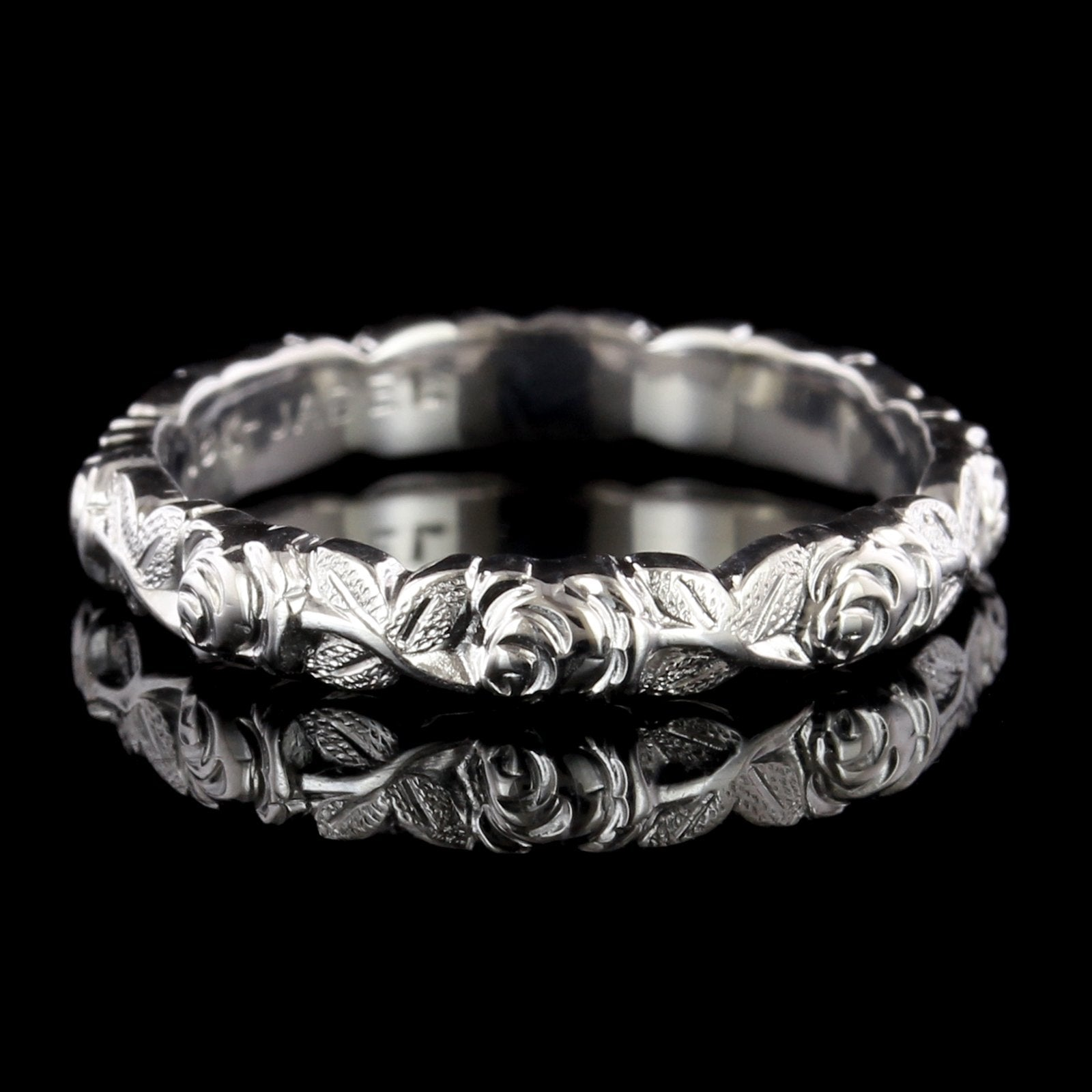 Jabel 18K White Gold Estate Floral Rose Wedding Band