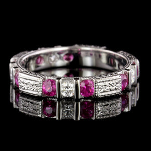 Platinum Ruby and Diamond Band