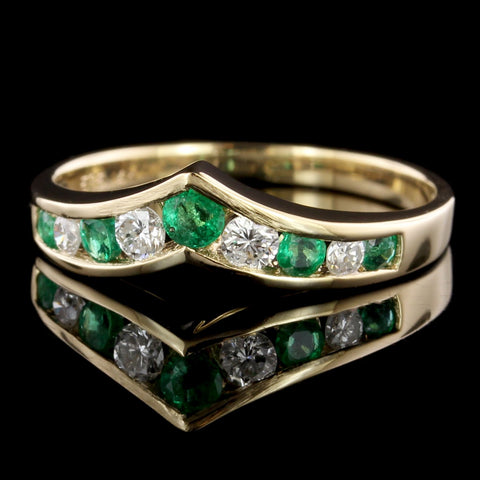 14K Yellow Gold Estate Emerald and Diamond Wrap Band