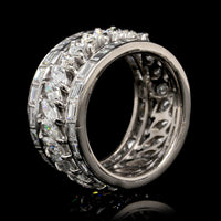14K White Gold Estate Diamond Three Row Eternity Band