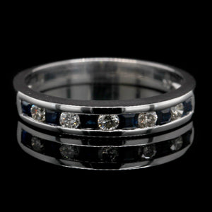 14K White Gold Estate Sapphire and Diamond Band