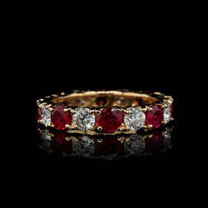 14K Yellow Gold Estate Ruby and Diamond Eternity Band