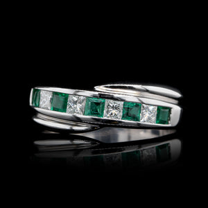 14K White Gold Estate Emerald and Diamond Band