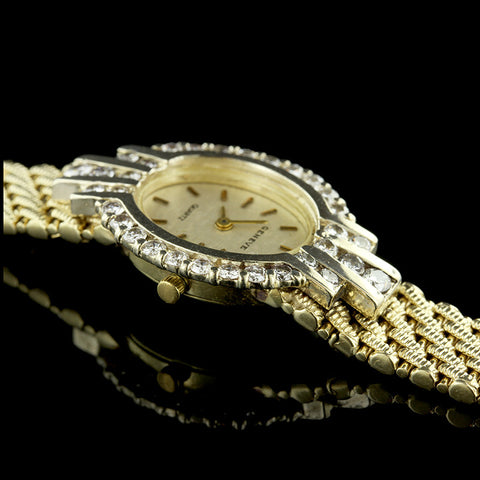 14K Yellow Gold Diamond Wristwatch
