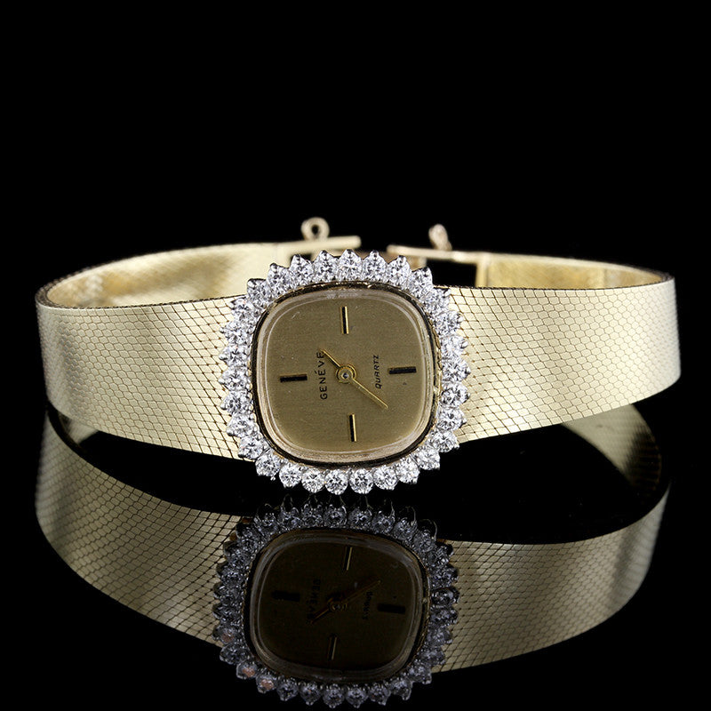 Geneve 14K Yellow Gold Diamond Wristwatch