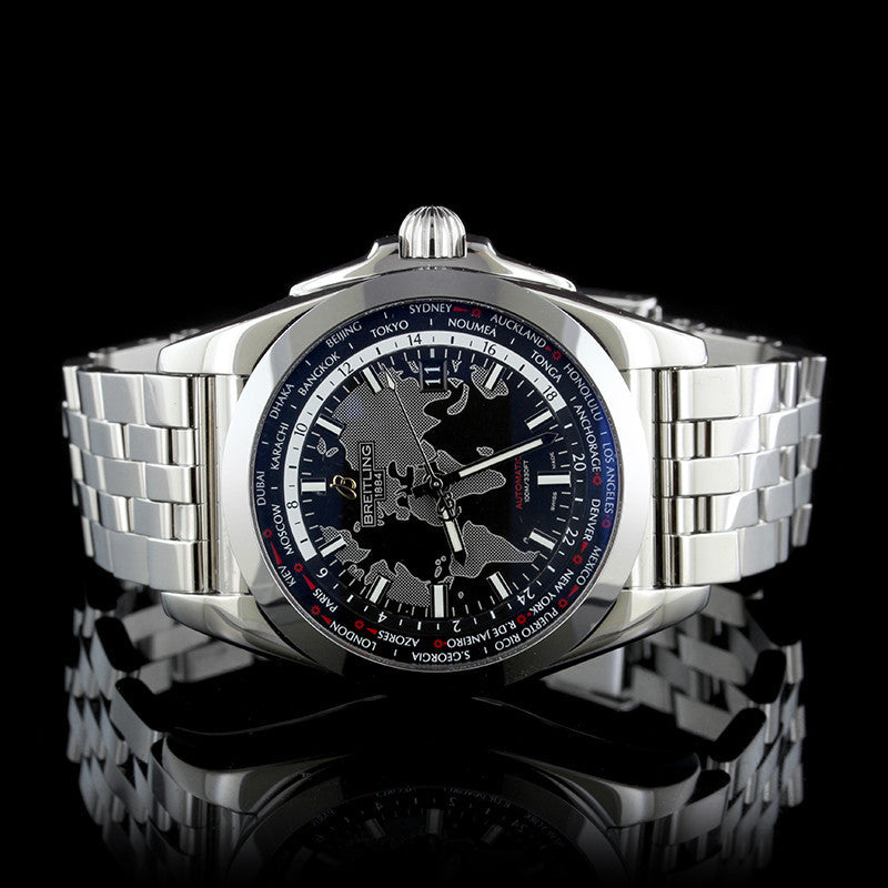 Breitling Stainless Steel Galactic Unitime Wristwatch