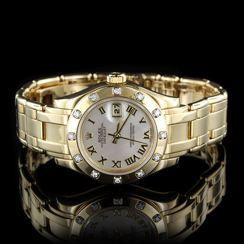 Rolex 18K Yellow Gold Pearlmaster Diamond Wristwatch