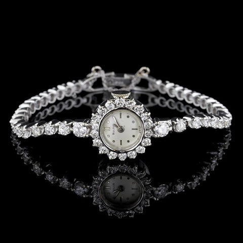 Vintage Bulova 14K White Gold Diamond Wristwatch