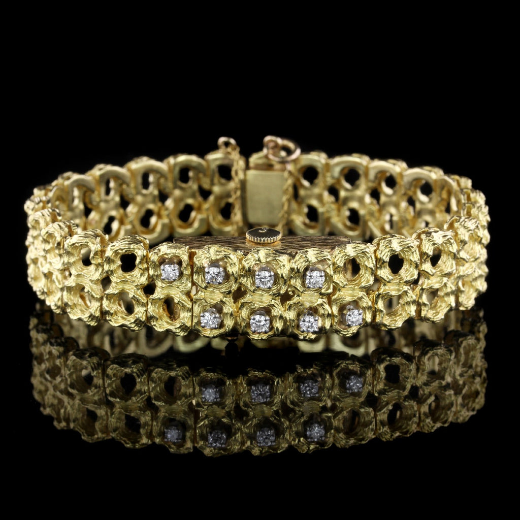 18K Yellow Gold Diamond Covered Wristwatch