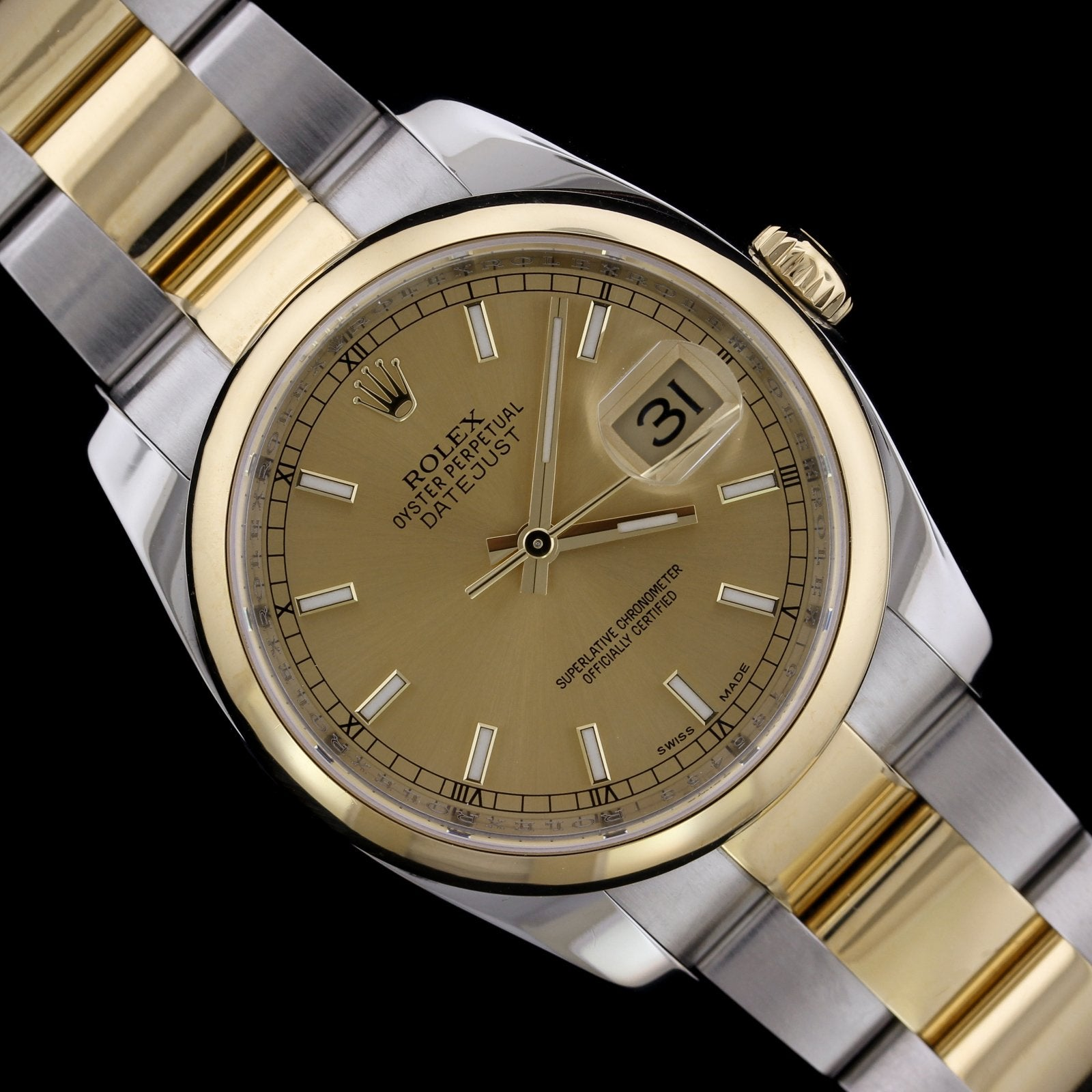 Rolex Steel and 18K Yellow Gold Estate Datejust Wristwatch