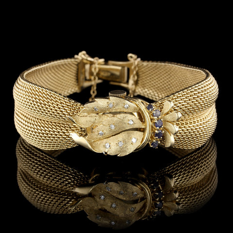 14K Yellow Gold Estate Sapphire and Diamond Covered Watch