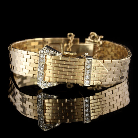La Roux 14K Yellow Gold Estate Diamond Covered Wristwatch