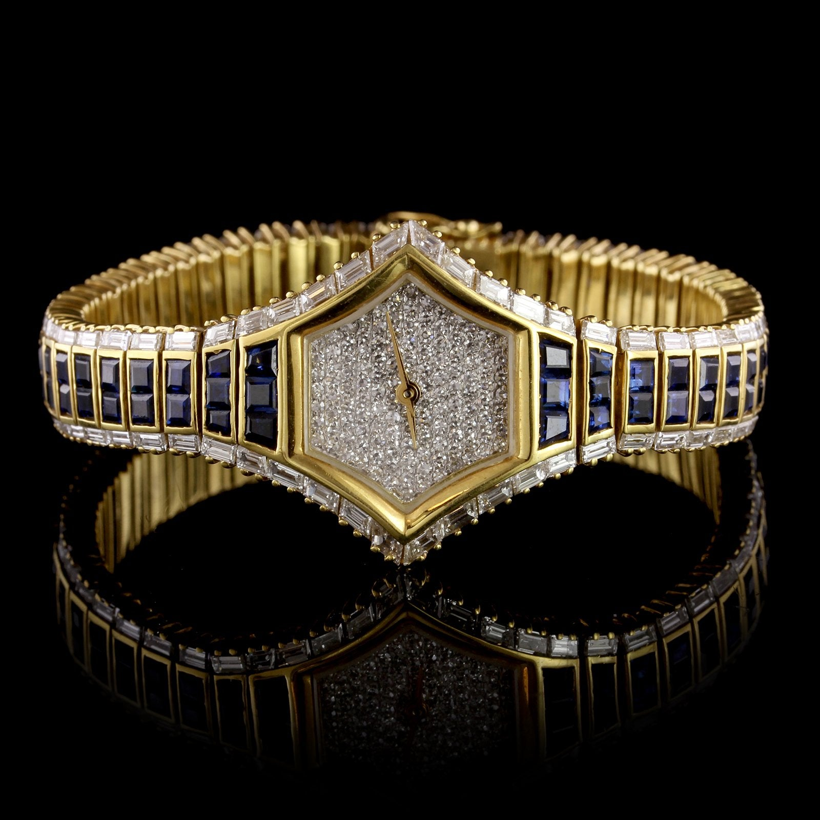 18K Yellow Gold Estate Sapphire and Diamond Wristwatch