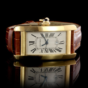 Cartier 18K Yellow Gold Estate Tank Americane Wristwatch