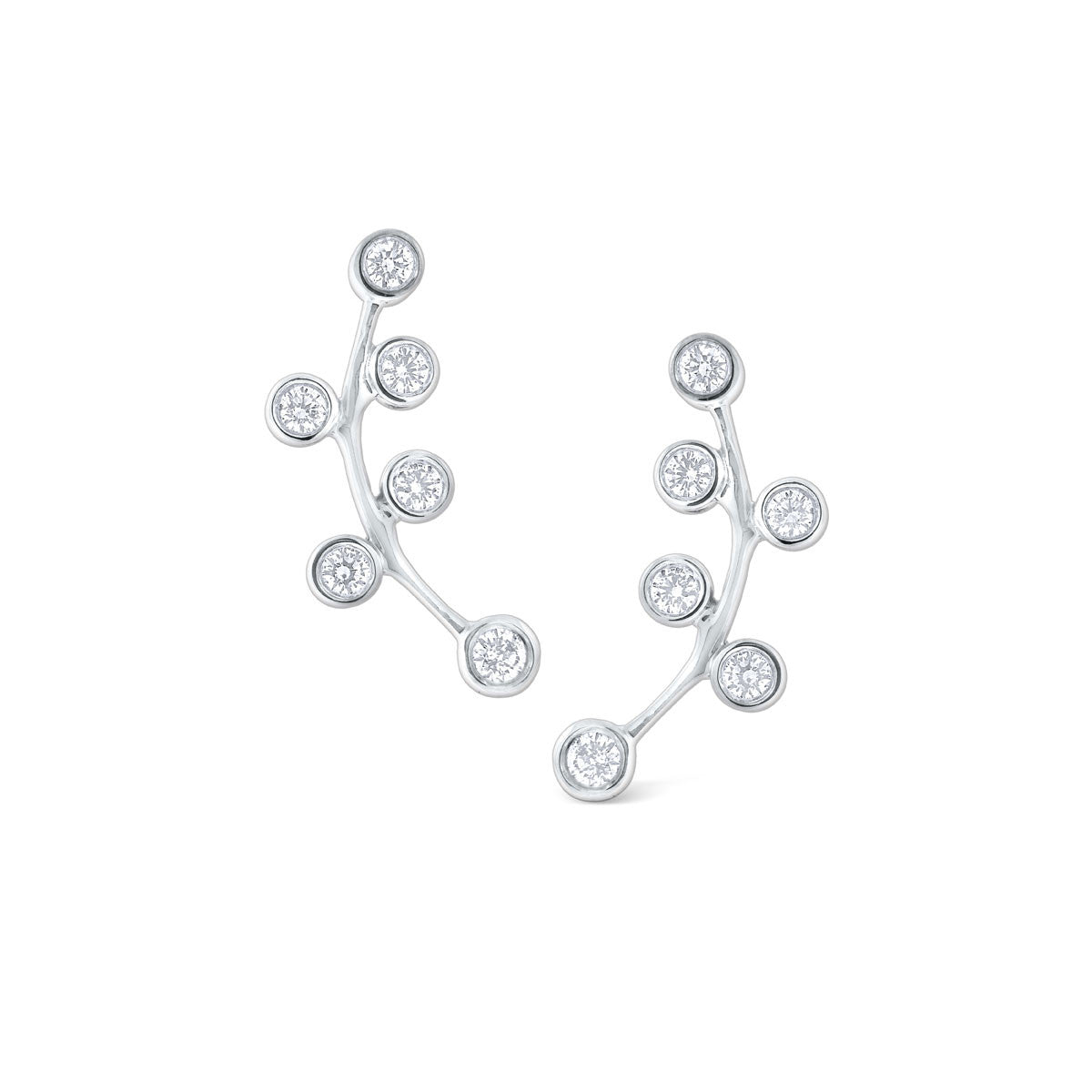 14K White Gold Bezel Set Diamond Ear Climbers