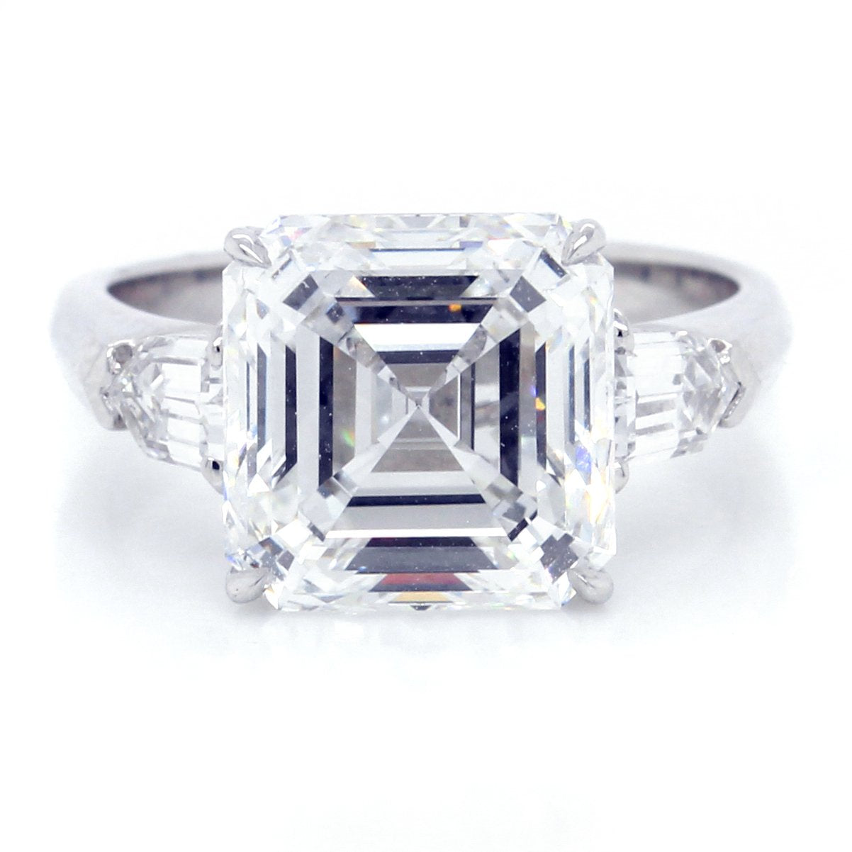 Platinum Three-Stone Asscher Cut Engagement Ring