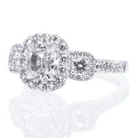 Henri Daussi 18K White Gold Three Stone Diamond Halo Engagement Ring
