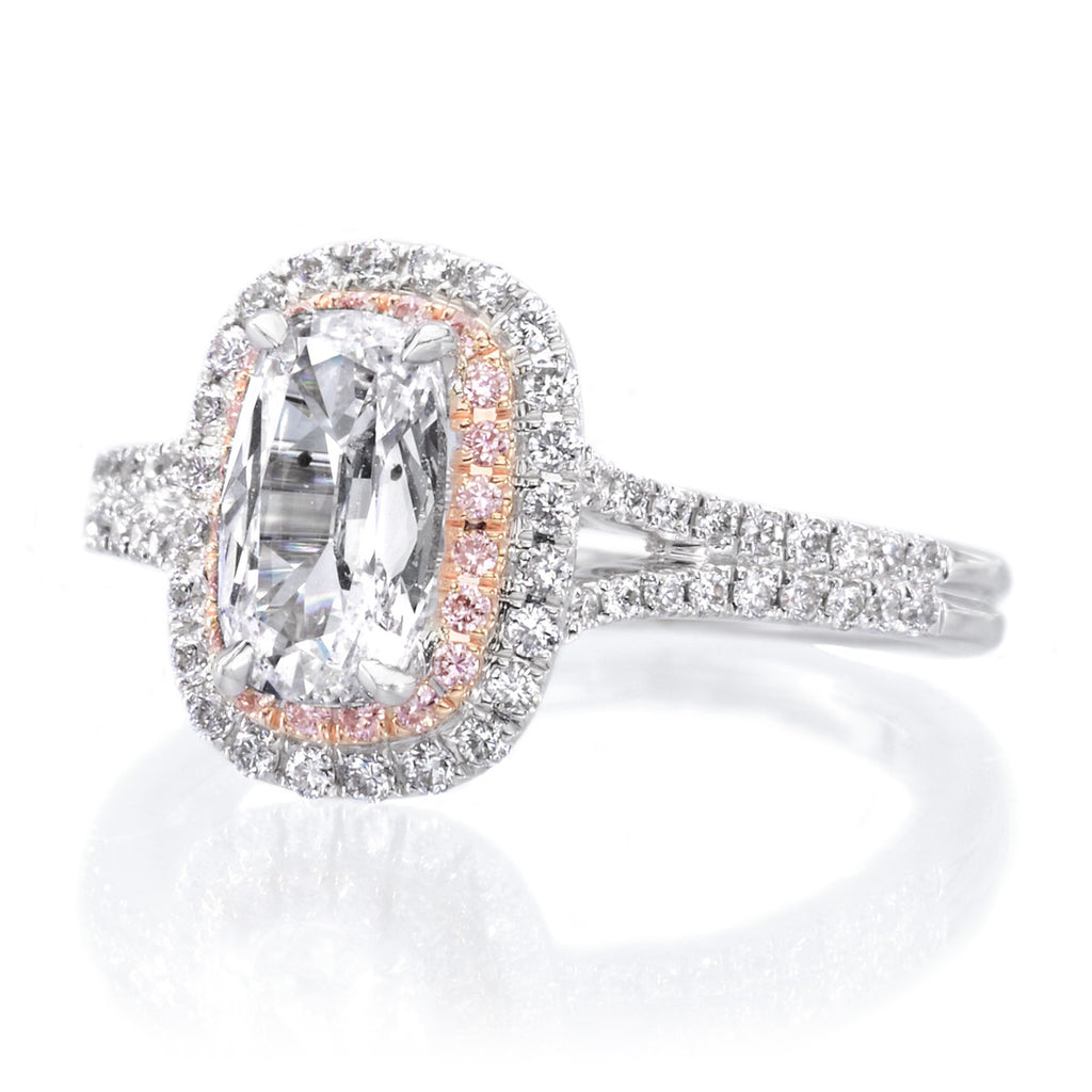 and engagement radiant jewellery rose ring halo white gold pink rings diamond fancy
