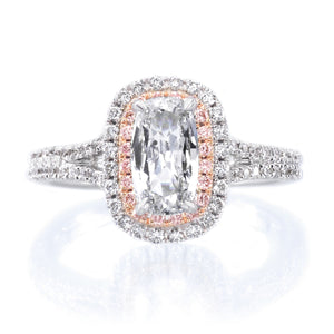 18K White Gold Double White & Pink Diamond Halo Engagement Ring