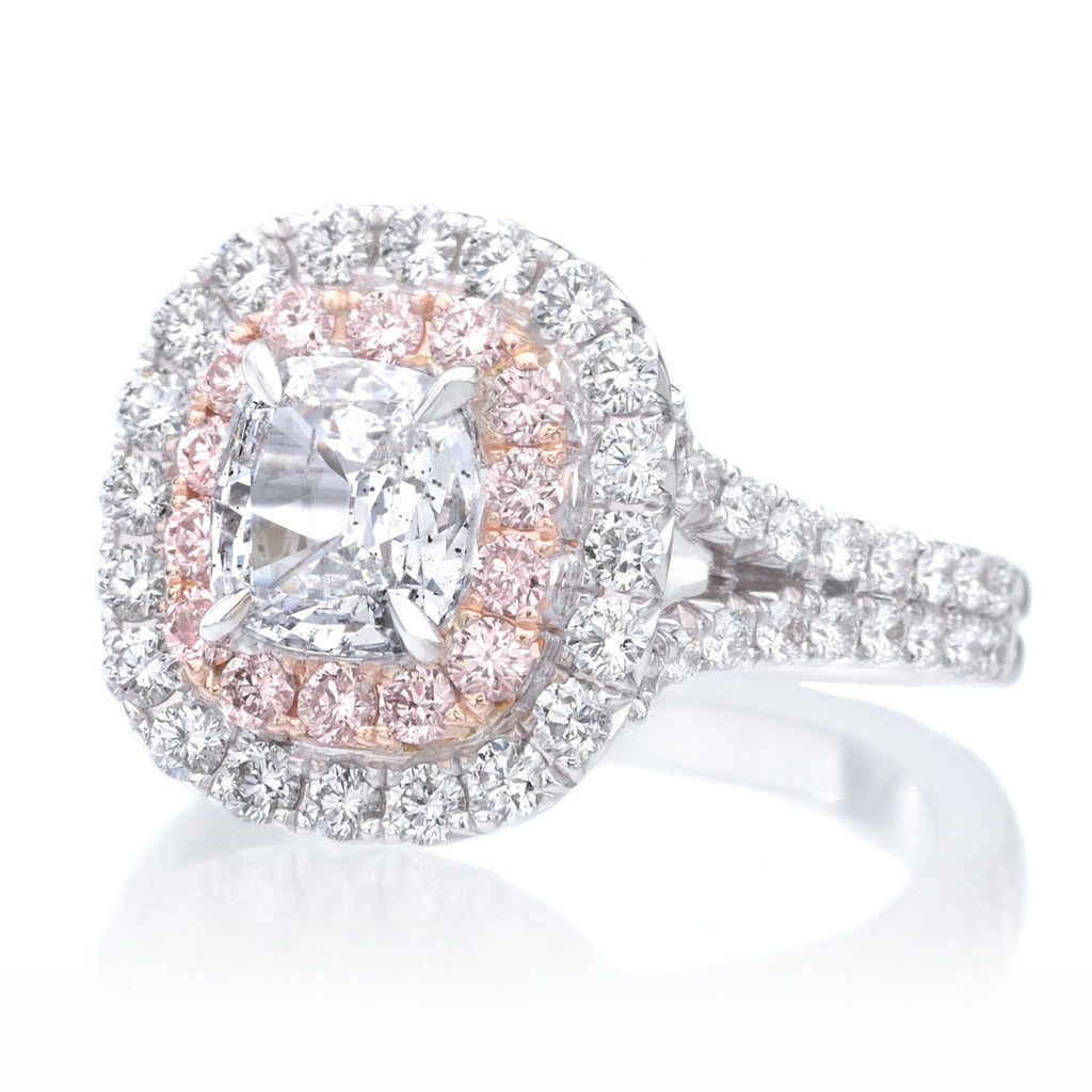 engagement white and ring diamond ct pink halo rings tw in natural gold rose
