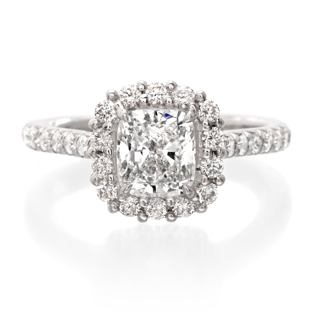 Platinum Cushion-Cut Halo Engagement Ring