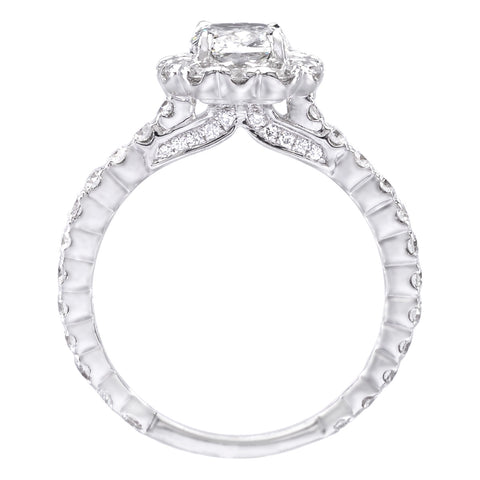 18K White Gold Cushion Cut Diamond Halo Engagement Ring