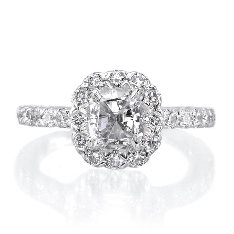 Henri Daussi 18K White Gold Four Stone Cushion Cut Diamond Halo Ring